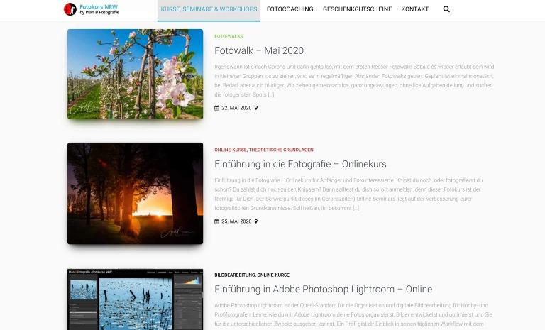 Webseite der Fotoschule